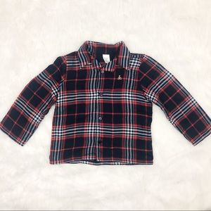 Baby Gap Navy & Red Plaid Button Down